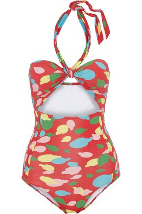 ISOLDA Cutout shirred printed halterneck swimsuit