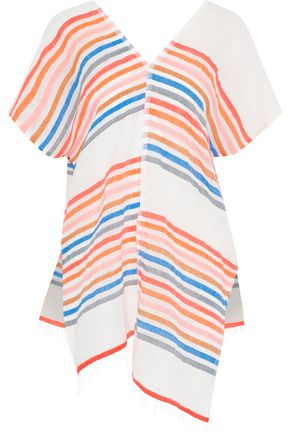 LEMLEM Candace asymmetric striped cotton-blend gauze coverup