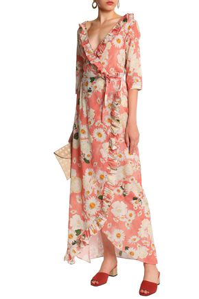 ISOLDA Ruffle-trimmed floral-print cotton maxi wrap dress