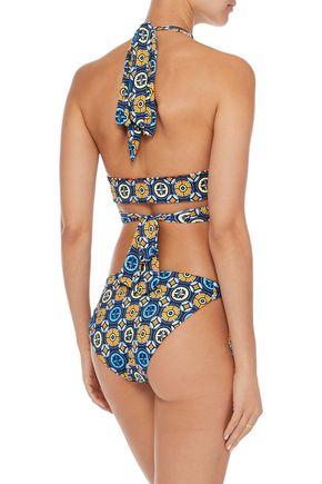 DEREK LAM 10 CROSBY Reversible printed halterneck bikini top