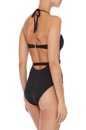 DEREK LAM 10 CROSBY Cutout ruched underwired swimsuit