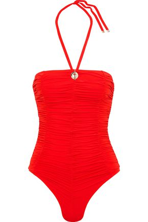 DEREK LAM 10 CROSBY Ruched swimsuit