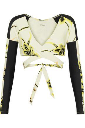 DEREK LAM 10 CROSBY Printed wrap bikini top