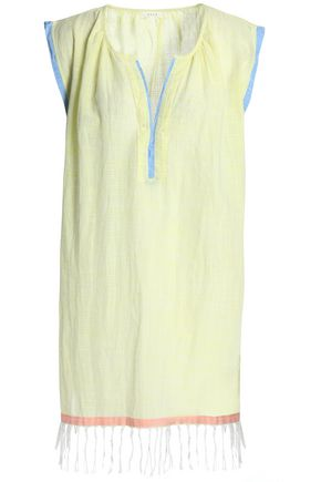 SOFT JOIE Fringed cotton-mousseline coverup