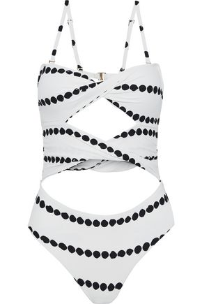 DEREK LAM 10 CROSBY Twist-front cutout printed swimsuit