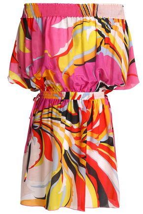 EMILIO PUCCI Strapless printed cotton and silk-blend coverup