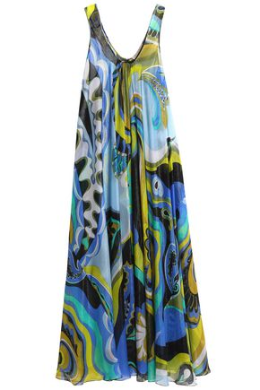 EMILIO PUCCI Metallic printed silk-blend georgette coverup
