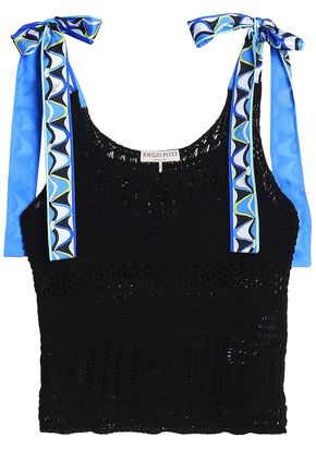 EMILIO PUCCI Printed silk satin-trimmed crocheted cotton top