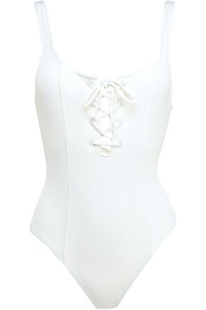 STAUD x SOLID & STRIPED Lace-up ribbed swimsuit