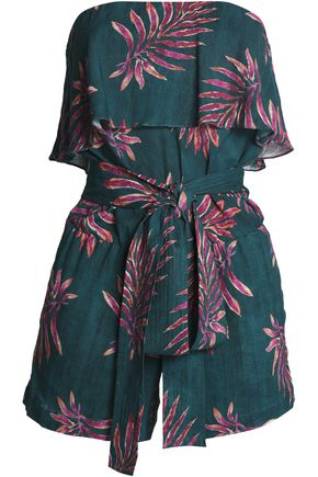 VIX PAULA HERMANNY Printed layered strapless linen-blend playsuit