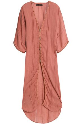 VIX PAULA HERMANNY Open knit-trimmed cotton-gauze kaftan