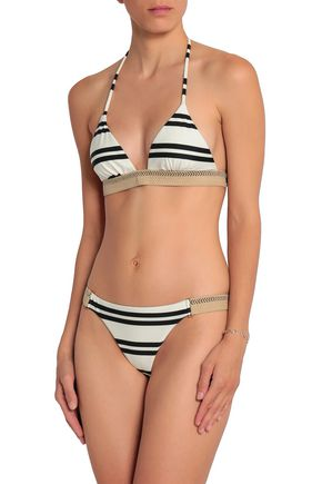 VIX PAULA HERMANNY Woven-trimmed striped triangle bikini top