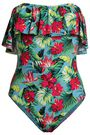 TART COLLECTIONS Ruffled floral-print bandeau swimsuit