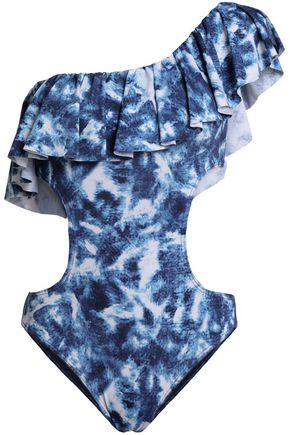 TART COLLECTIONS One-shoulder ruffled printed swimsuit