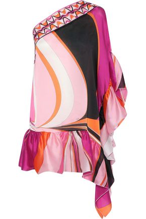 EMILIO PUCCI One-shoulder ruffle-trimmed printed silk-satin coverup