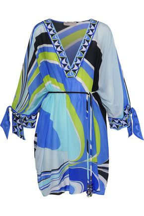 EMILIO PUCCI Cotton and silk-blend voile coverup