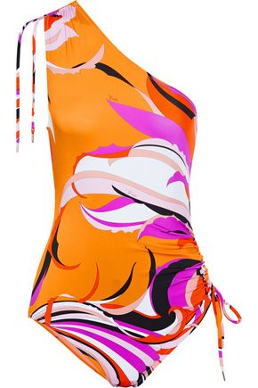 EMILIO PUCCI One-shoulder ruched printed swimsuit