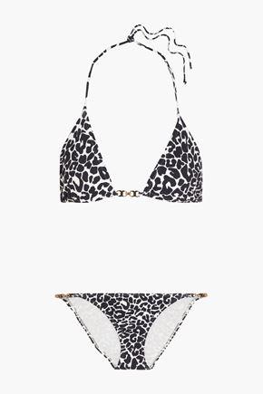 TORY BURCH Leopard-print triangle bikini