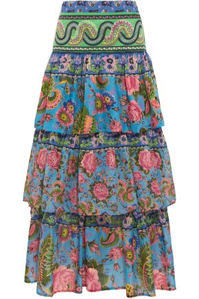ANJUNA Candy tiered printed cotton-voile maxi skirt