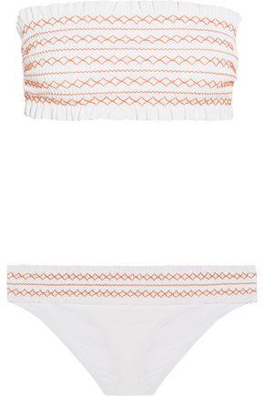 TORY BURCH Smocked bandeau bikini