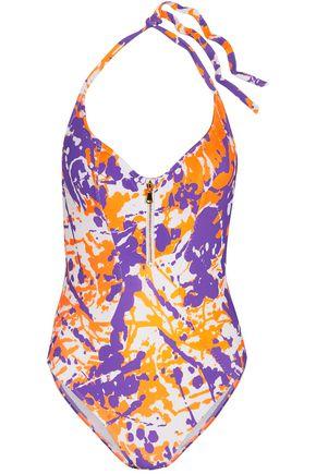 L'AGENT by AGENT PROVOCATEUR Hailie open-back printed halterneck swimsuit