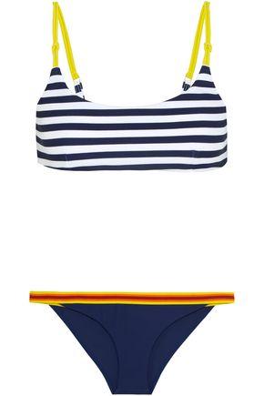 RYE Splish striped canvas and grosgrain-trimmed bikini
