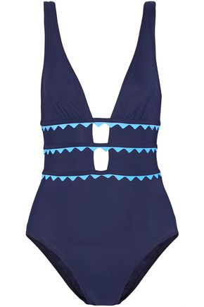 KARLA COLLETTO New Wave appliquéd cutout swimsuit