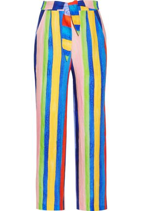 MARA HOFFMAN Striped organic linen wide-leg pants