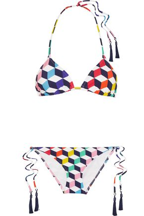 EMMA PAKE Deco Cube printed triangle bikini