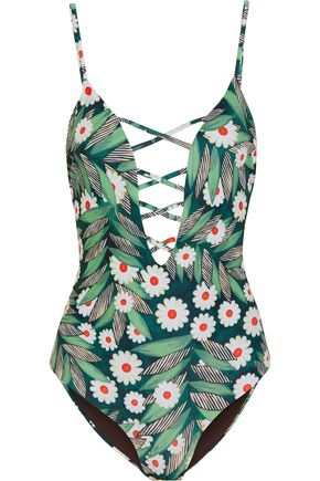 MARA HOFFMAN Lattice-trimmed printed swimsuit