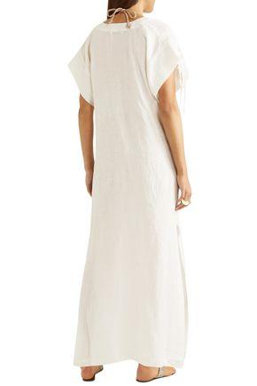MARYSIA Lace-up cotton-gauze coverup