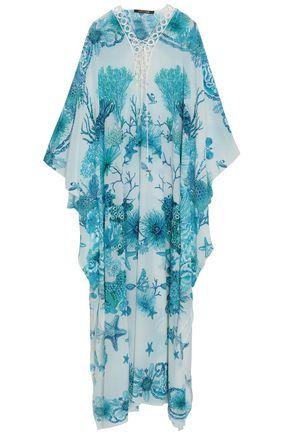 Lace-up printed silk crepe de chine kaftan