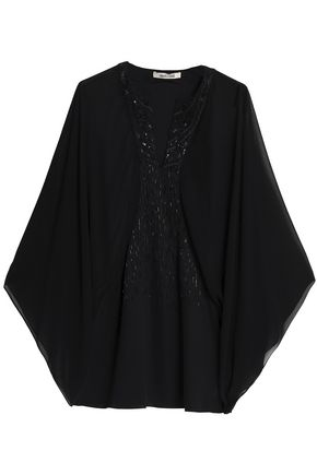 ROBERTO CAVALLI Embellished georgette and crepe blouse