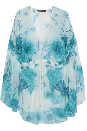 ROBERTO CAVALLI Gathered printed silk-voile blouse
