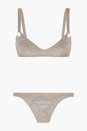 LISA MARIE FERNANDEZ New Button cotton-blend terry bikini