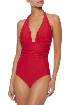 LENNY NIEMEYER Ruched halterneck swimsuit