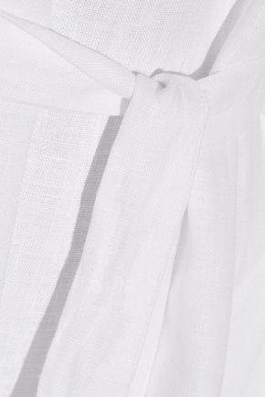 LISA MARIE FERNANDEZ Off-the-shoulder pointelle-trimmed linen-gauze maxi dress