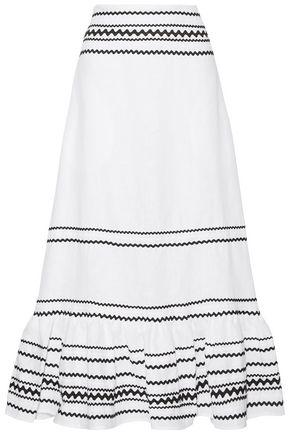 LISA MARIE FERNANDEZ リックラックトリム ラッフル付き リネン マキシスカート