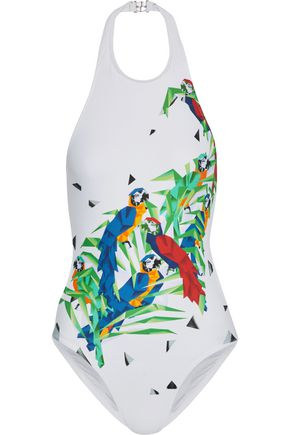 NORMA KAMALI Sister Chuck cutout printed halterneck swimsuit