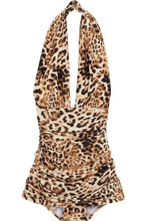 NORMA KAMALI Halter Bill ruched leopard-print halterneck swimsuit