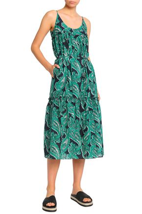 STELLA McCARTNEY Gathered printed cotton and silk-blend midi dress