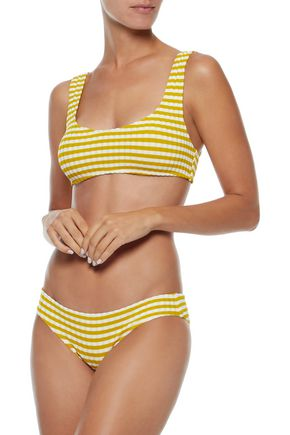 SOLID & STRIPED The Elle striped ribbed bikini top