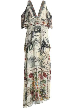 CAMILLA Cold-shoulder crystal-embellished printed silk crepe de chine maxi dress