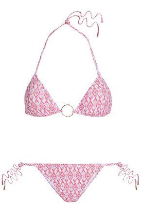 MELISSA ODABASH Embellished printed triangle bikini top
