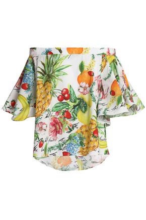 CAMILLA There's No Place Like Rio off-the-shoulder embellished printed cotton-poplin top