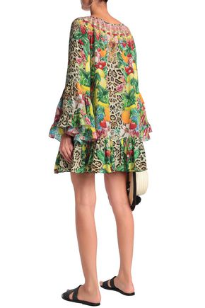 CAMILLA Crystal-embellished printed silk crepe de chine mini dress