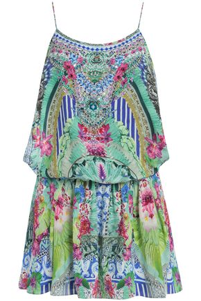 CAMILLA Animal Instinct belted embellished printed silk playsuit