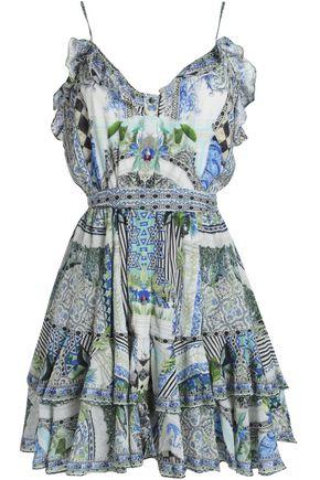 CAMILLA The Sweet Escape ruffled printed jacquard mini dress