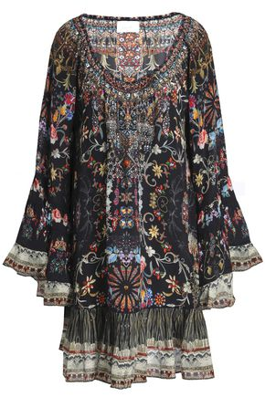 CAMILLA Crystal-embellished printed silk crepe de chine dress