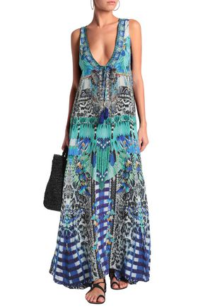 CAMILLA Crystal-embellished printed silk maxi dress